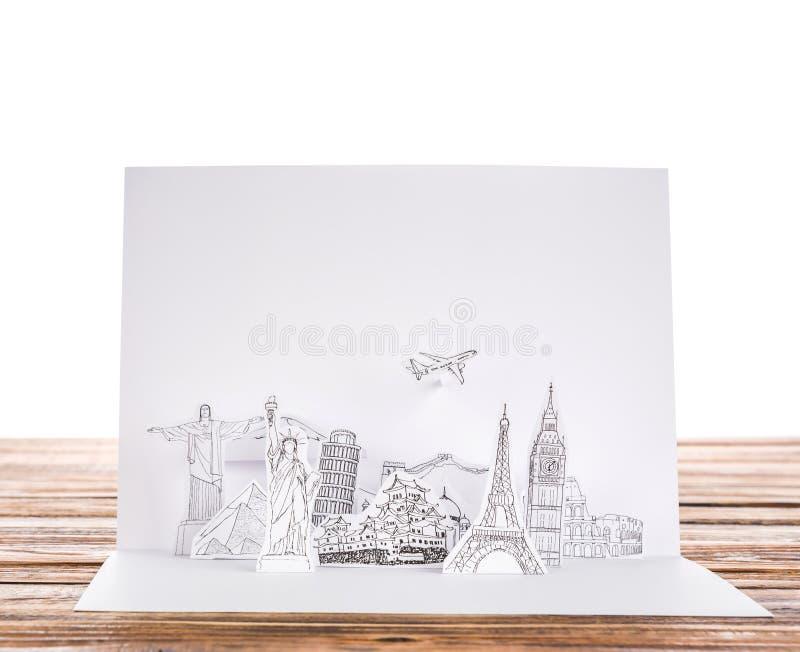 Papier geschnitten (Japan, Frankreich, Italien, New York, Indien, Ägypten) stockfotografie