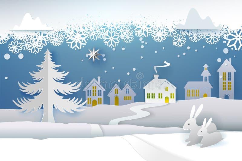 Papier geschnittener schneiender Winter lizenzfreie abbildung
