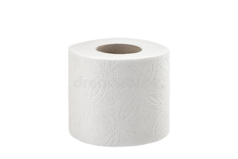 Papier hygiénique sur le rouleau de papier hygiénique blanc de fond d'isolement images libres de droits