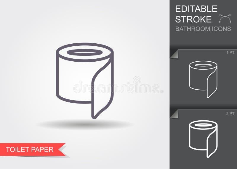 Papier hygi?nique Ligne ic?ne avec la course editable avec l'ombre illustration de vecteur