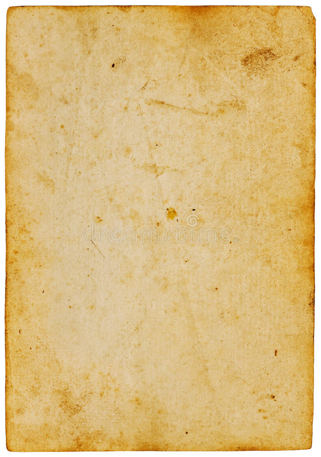 Papier jaune antique d'isolement sur le blanc image stock
