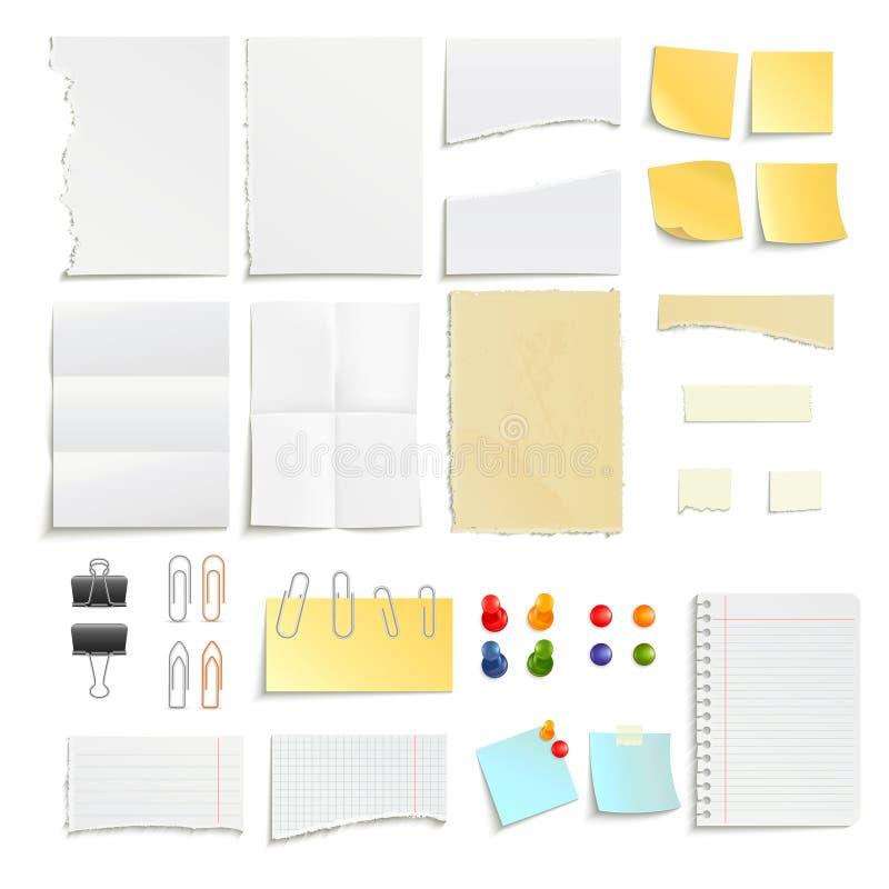 Papier klamerek I notatek przedmiota set ilustracji