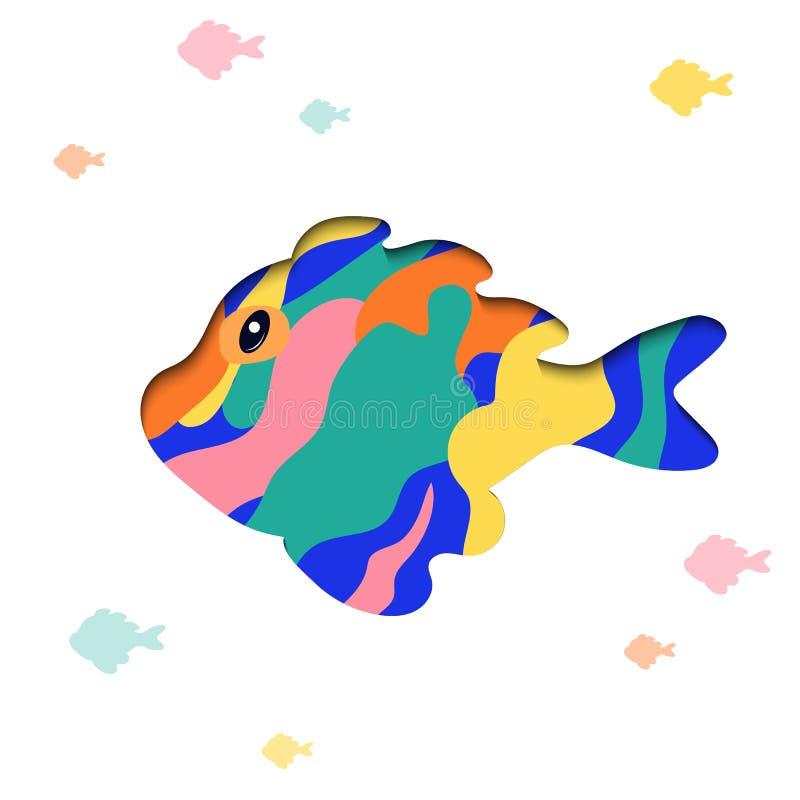 Papier kreskówki ryby rżnięty kształt w poligonalnym modnym rzemiosło stylu ilustracji