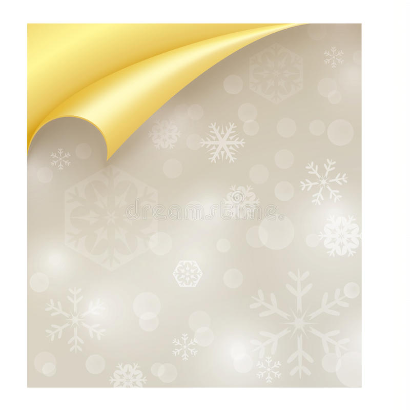 Papier léger avec la texture de flocon de neige et l'or enroulé illustration de vecteur