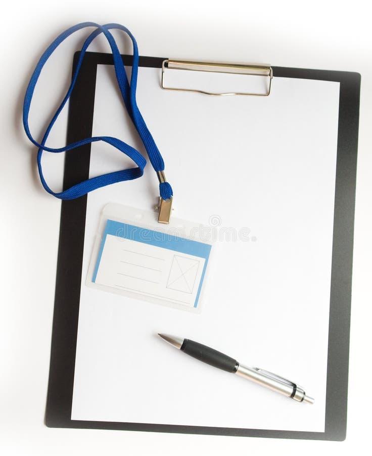 Papier mit Abzeichen und Feder stockfoto