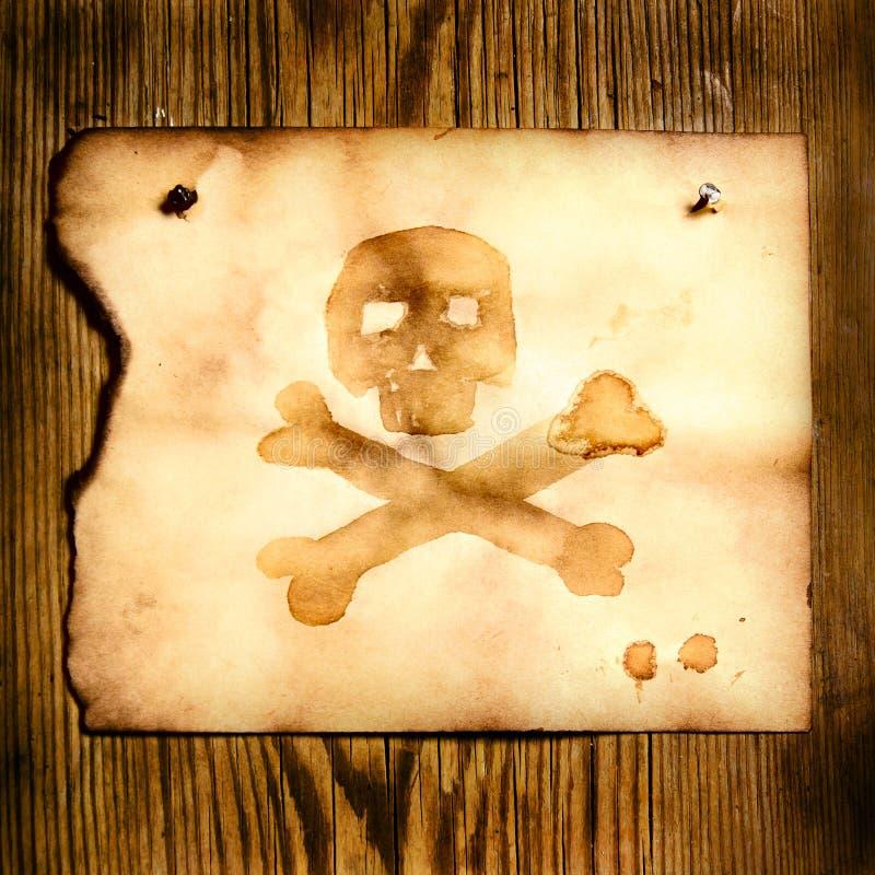 Papier mit dem Schädel und den gekreuzten Knochen vektor abbildung