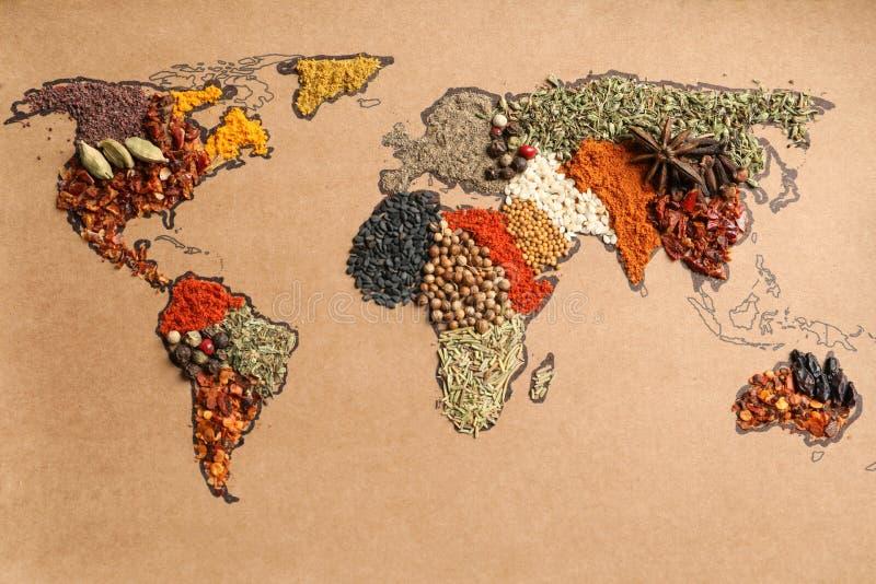 Papier mit der Weltkarte gemacht stockfoto