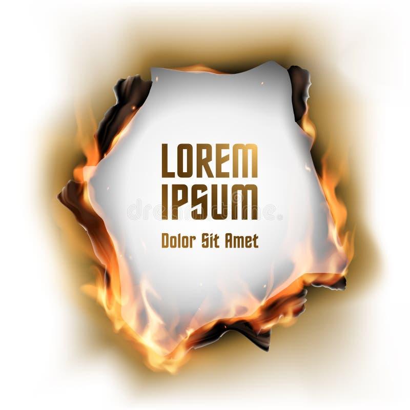 Papier mit gebranntem Loch und Flamme lizenzfreie abbildung