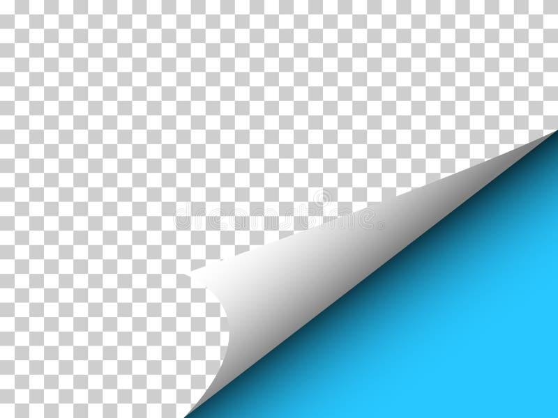 Papier mit gelockter Ecke und Schatten auf Transparenz - Vector illu lizenzfreies stockbild