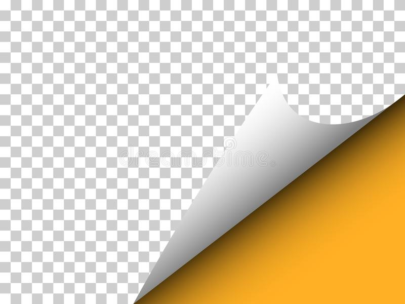 Papier mit gelockter Ecke und Schatten auf Transparenz - Vector illu lizenzfreie stockfotografie