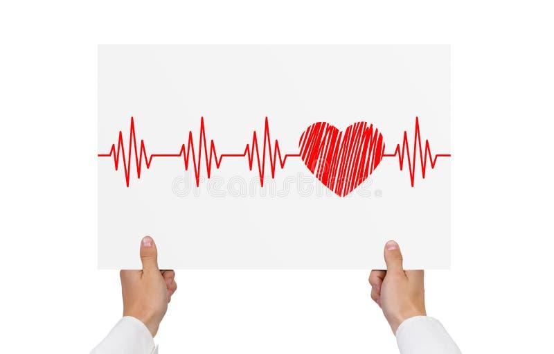 Papier mit Kardiogramm lizenzfreie stockfotos