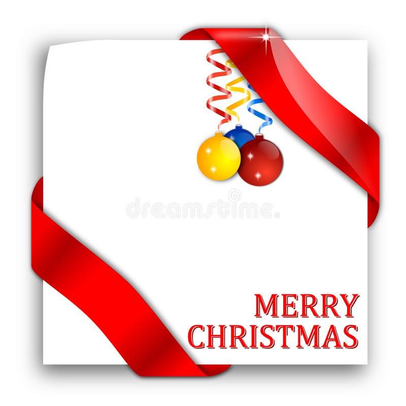 Papier mit roten Bändern und Weihnachtskugeln lizenzfreie abbildung