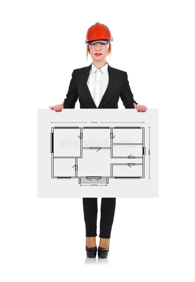 Papier mit Wohnungsprojekt stock abbildung