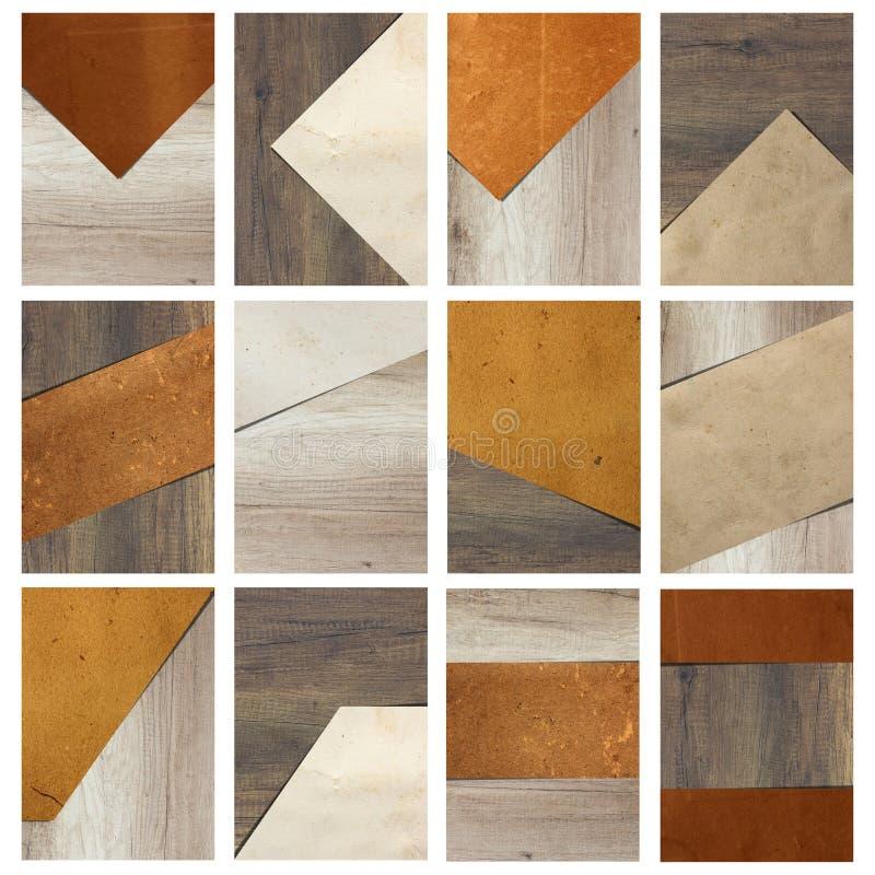 Papier na drewnianej tło broszurki geometrycznym projekcie obrazy stock