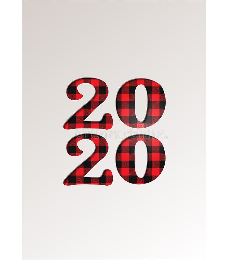 Papier na temat zimowych wakacji z kartami okolicznościowymi - Nowy Rok 2020 na tartan checkered plaid - ilustracja wektorowa ilustracji