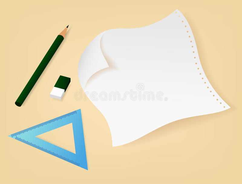 Papier, ołówek, guma i władcy ilustracja, ilustracja wektor