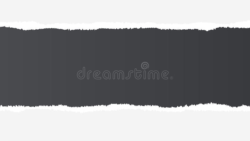 Papier ouvert déchiré réaliste avec l'espace pour le texte sur le fond noir, trous en papier Bande déchirée de papier avec inégal illustration libre de droits