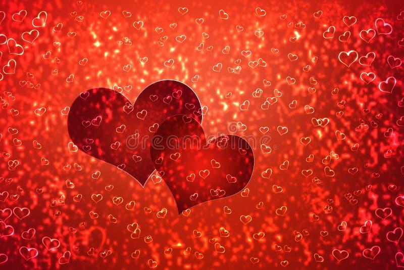Papier peint à la Saint-Valentin avec les coeurs rouges illustration stock