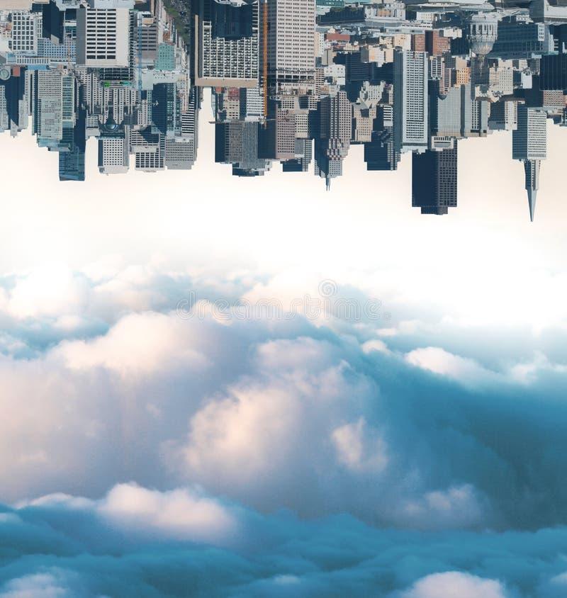 Papier peint abstrait de ville et de ciel photos stock