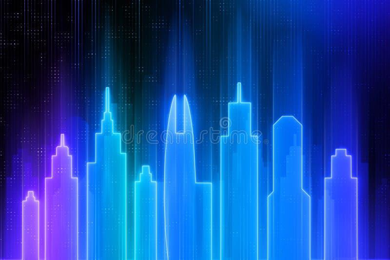 Papier peint au néon bleu de ville illustration de vecteur