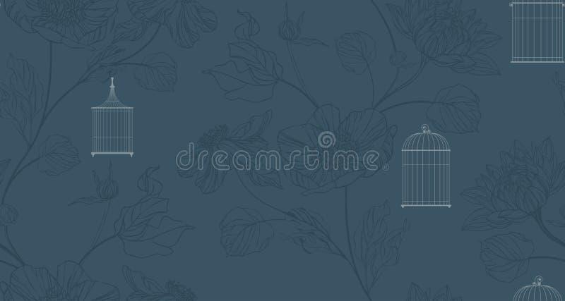 Papier peint avec le birdcage et les fleurs illustration stock