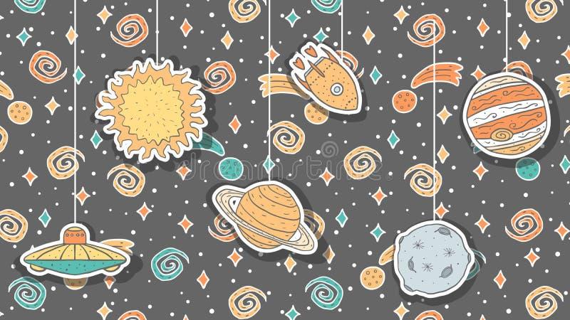 Papier peint avec les illustrations puériles tirées par la main de l'espace illustration libre de droits
