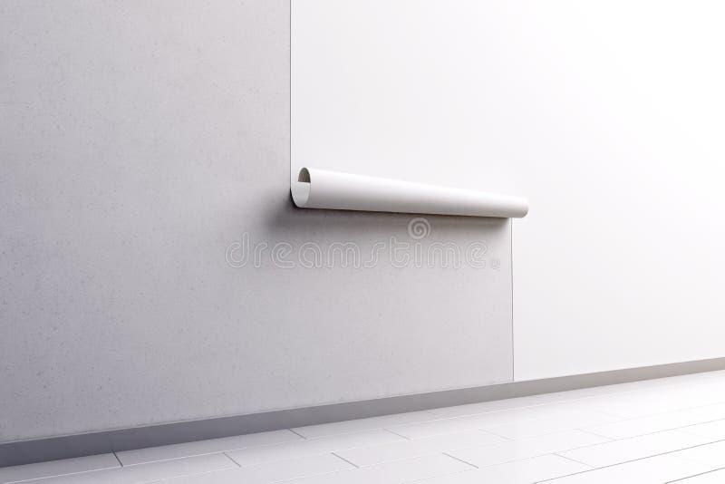 Papier peint blanc vide raccrochant sur la moquerie de mur, vue de côté illustration stock