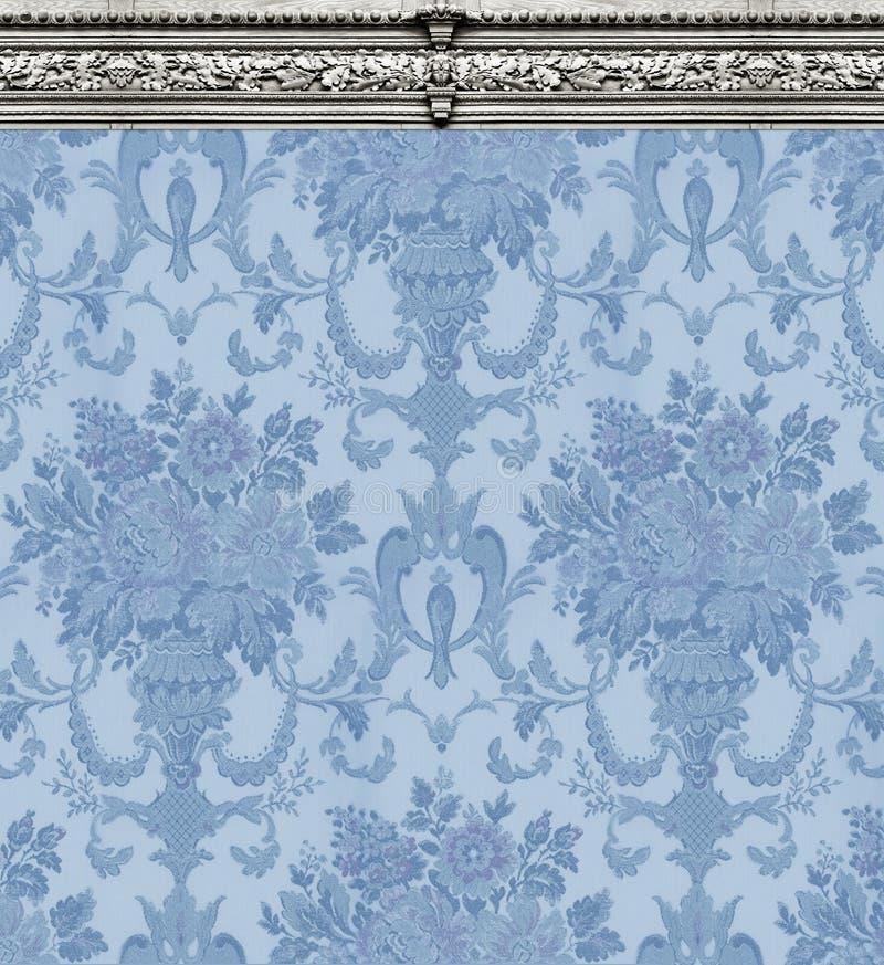 Papier peint bleu de damassé avec le bâti fleuri image libre de droits