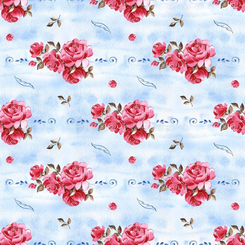 Papier peint bleu de dentelle d'aquarelle Configuration sans joint florale Modèle botanique décoratif Batik indonésien bleu-clair illustration de vecteur