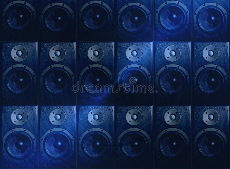 Papier peint bleu-foncé d'abrégé sur haut-parleur de musique image stock