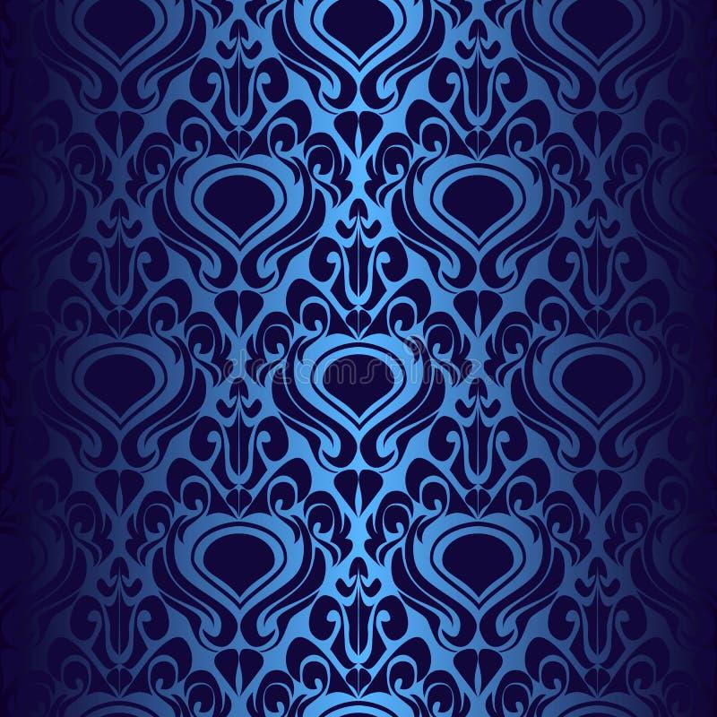 papier peint bleu fonc sans joint illustration de vecteur illustration du l gant fleur. Black Bedroom Furniture Sets. Home Design Ideas