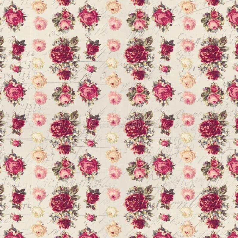 Papier peint chic minable rose et rouge antique de modèle de répétition de rose image stock