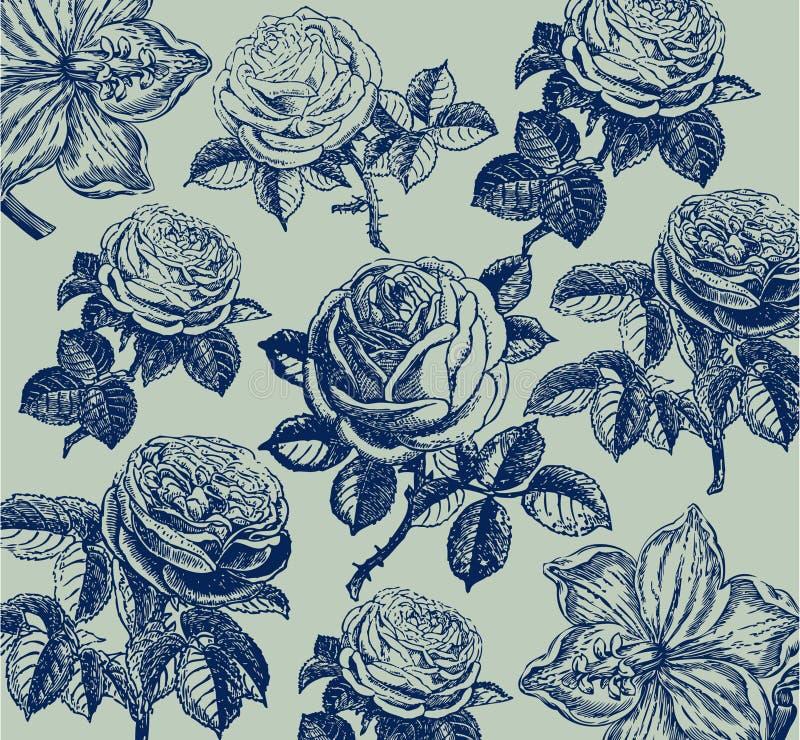 Papier peint classique avec une configuration de fleur. illustration libre de droits