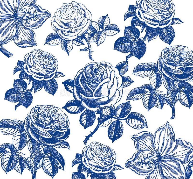 Papier peint classique avec une configuration de fleur. illustration stock