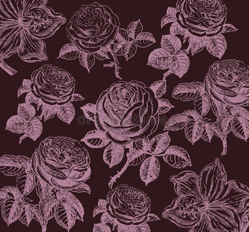Papier peint classique avec une configuration de fleur. illustration de vecteur