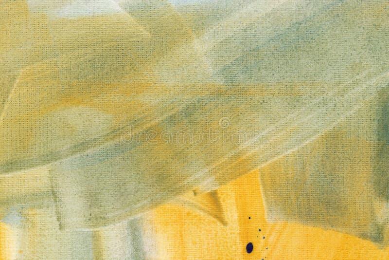 Papier peint couleur aquarelle jaune avec traits de brosse bleu clair. Illustration matricielle des écouvillonnages de pinceaux d image libre de droits