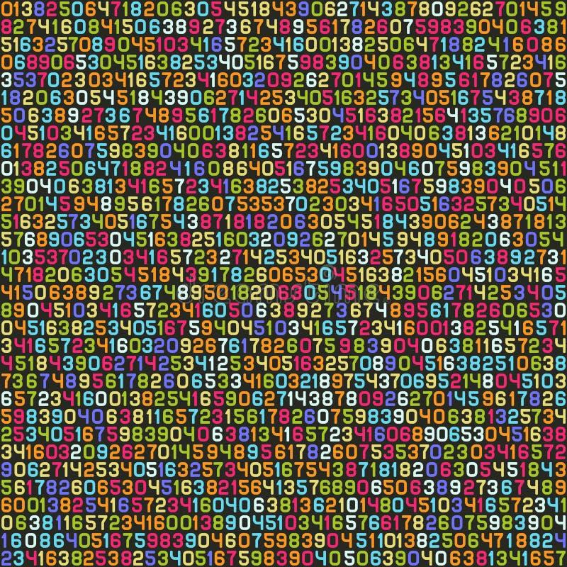 Papier peint décimal de fond de code informatique de couleur sans couture Vecteur illustration stock