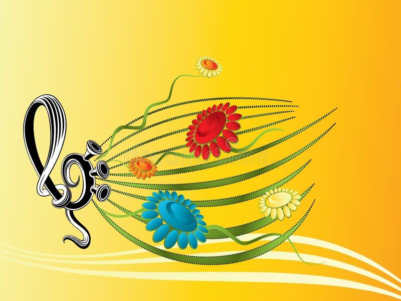 Papier peint d'été de musique illustration stock