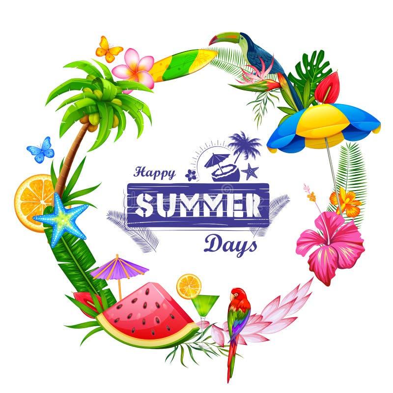 Papier peint d'affiche d'heure d'été pour le calibre de bannière d'invitation de partie d'amusement illustration de vecteur