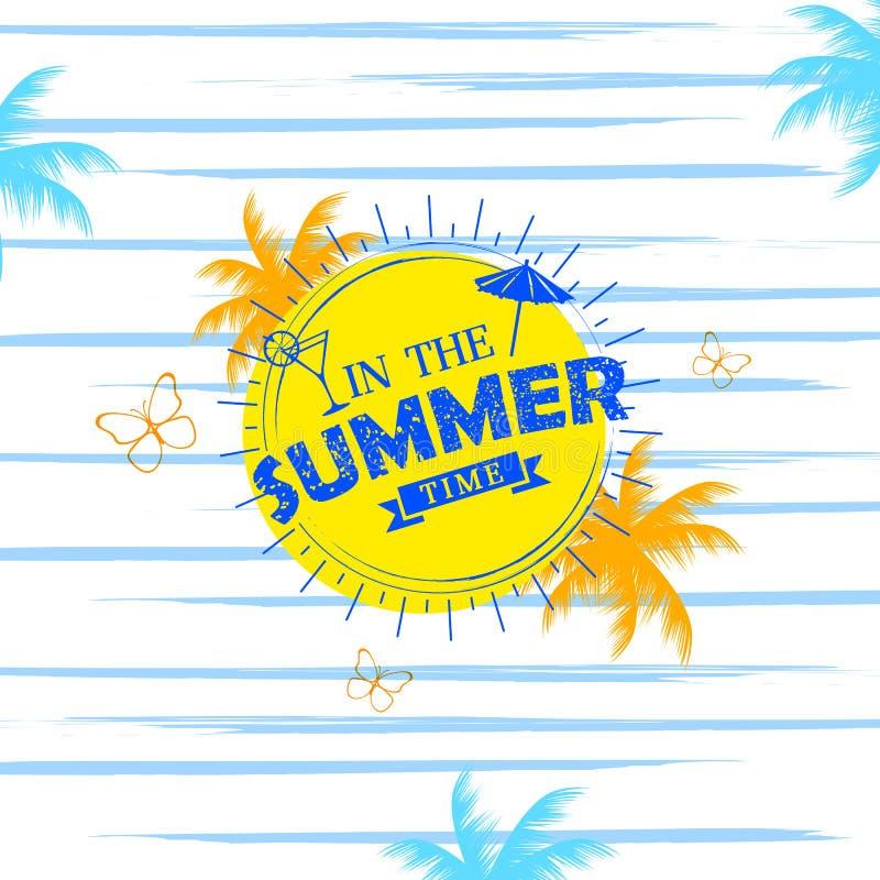 Papier peint d'affiche d'heure d'été pour le calibre de bannière d'invitation de partie d'amusement illustration stock