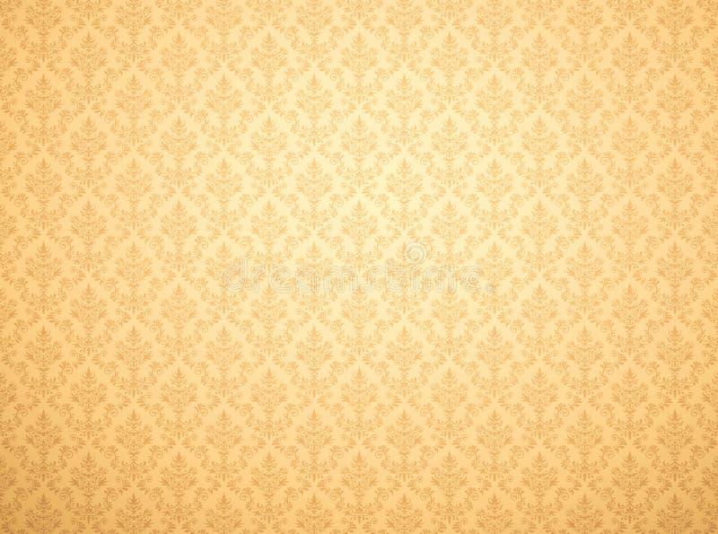 Papier peint d'or avec le modèle de damassé illustration libre de droits