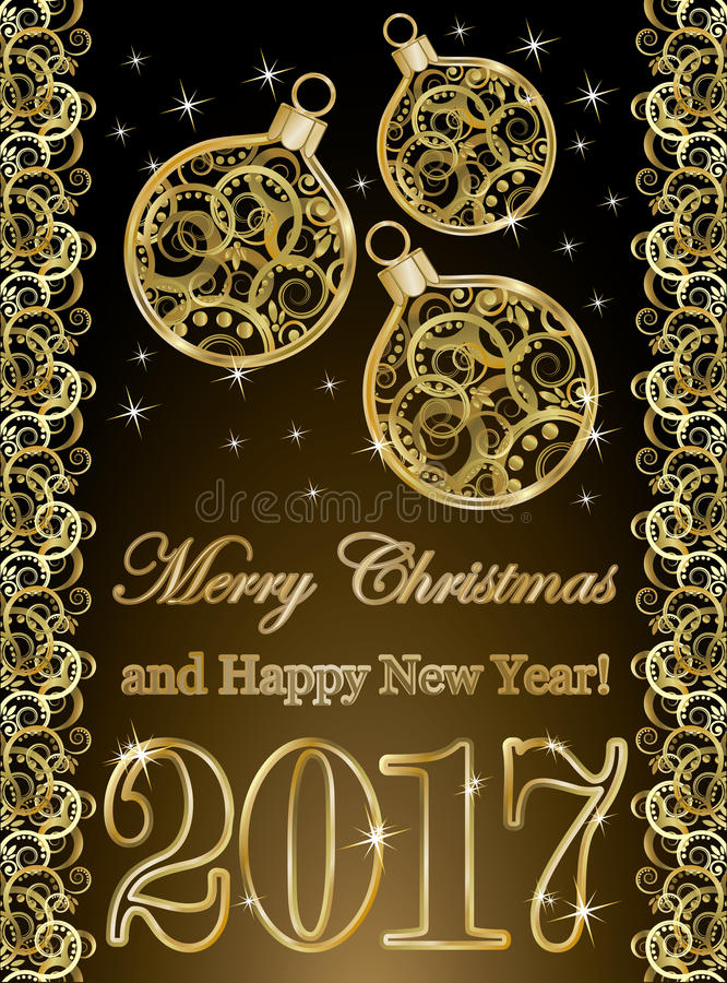 Papier peint d'or de la nouvelle année 2017 avec des boules de Noël illustration stock