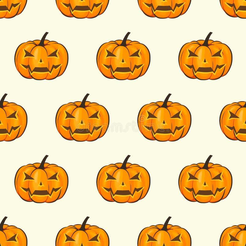 Papier peint d'enveloppe d'isolement par modèle sans couture de Halloween avec les potirons terribles dans un style de bande dess illustration stock