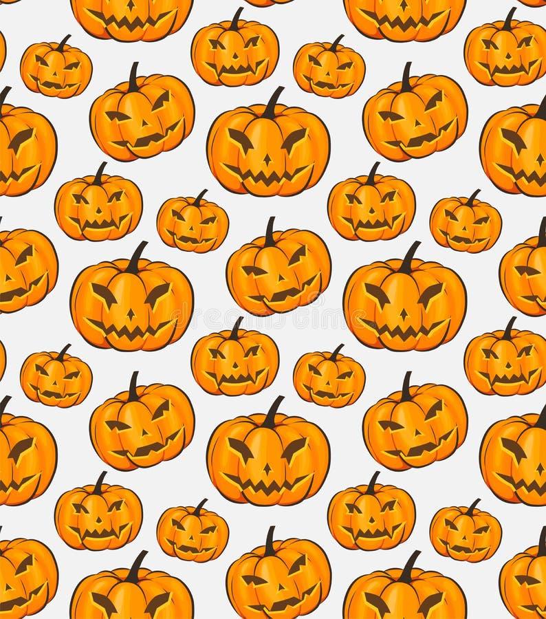 Papier peint d'enveloppe d'isolement par modèle sans couture de Halloween avec les potirons terribles dans un style de bande dess illustration libre de droits
