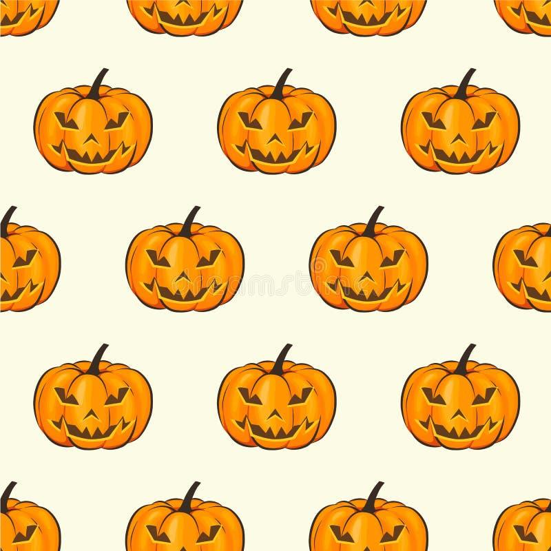 Papier peint d'enveloppe d'isolement par modèle sans couture de Halloween avec les potirons terribles dans un style de bande dess illustration de vecteur