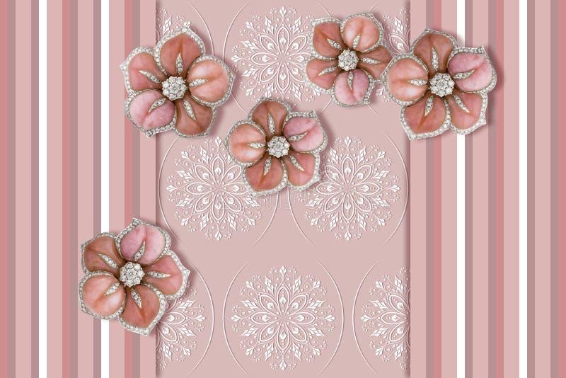 papier peint 3D, fleurs de bijoux, modèle avec les rayures verticales, lignes d'épaisseur différente et couleurs pastel illustration libre de droits