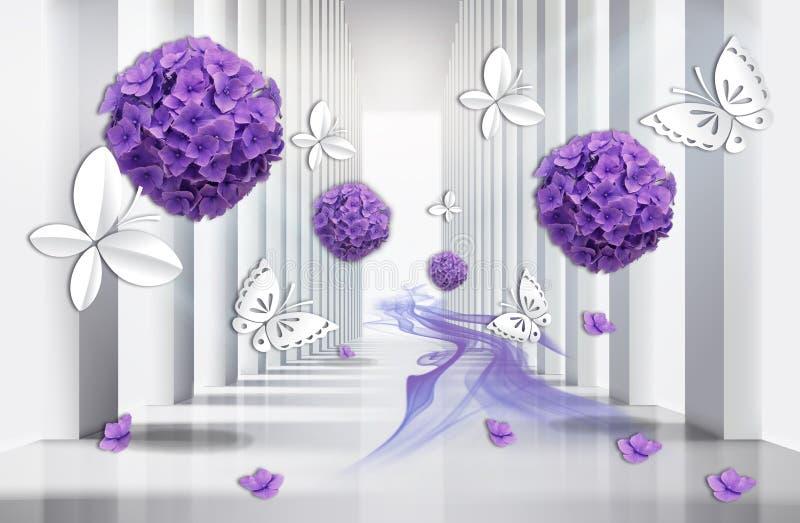 papier peint 3D, tunnel d'architecture avec les fleurs pourpres d'hortensia et papillons illustration stock