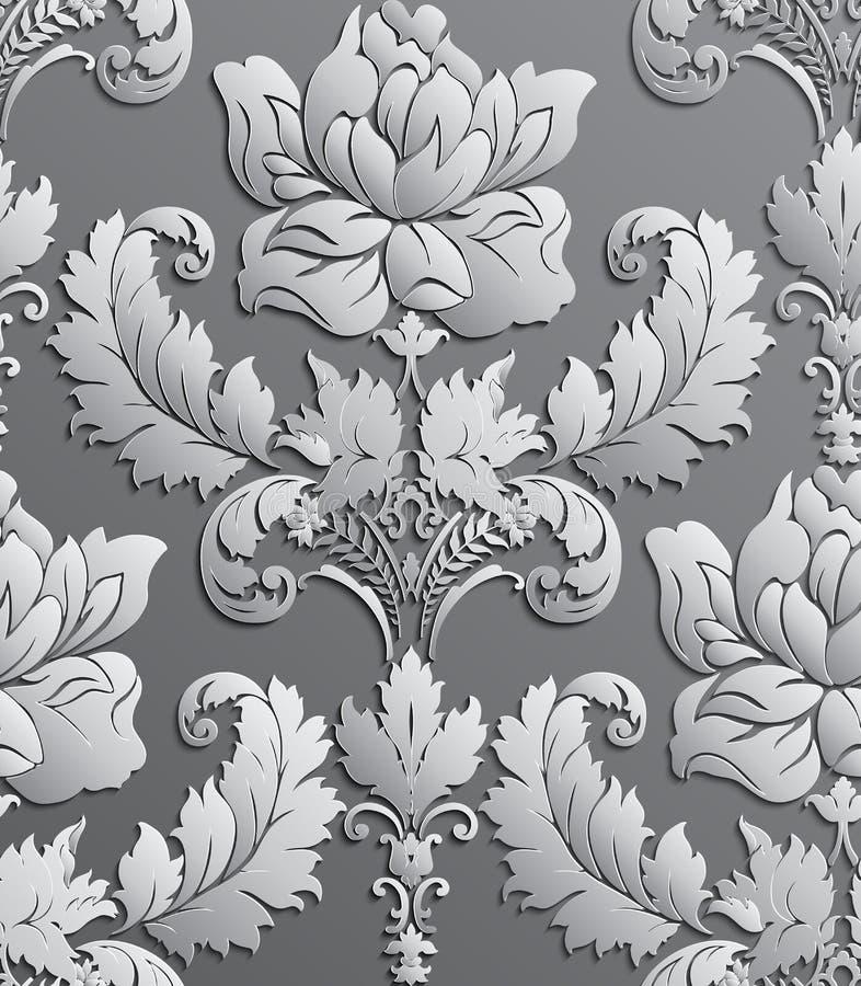 Papier peint dans le style du baroque Configuration florale sans joint de damassé Ornement de Rose illustration de vecteur