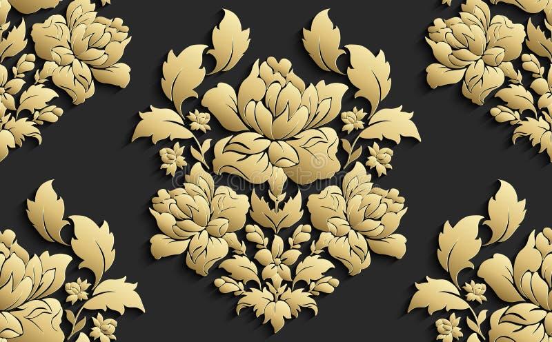Papier peint dans le style du baroque Modèle floral sans couture de damassé de vecteur Ornement de Rose illustration stock
