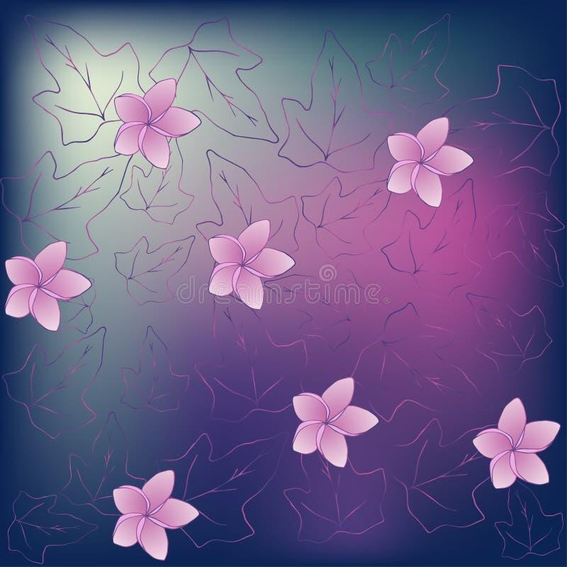 Papier peint dans un style romantique avec le Hedera de fleurs de magnolia et de feuilles de lierre Fait dans pourpre et rose ill illustration libre de droits